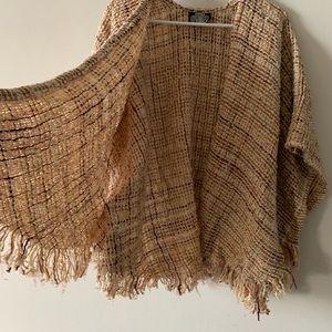 Vintage 70s wool tweed fringe poncho shrug